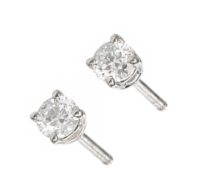 Tiffany & Co .40 Carat Diamond Platinum Stud Earrings