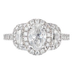 Peter Suchy GIA Certified .95 Carat Oval Diamond Halo Platinum Engagement Ring