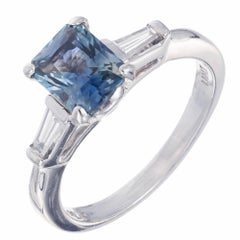 GIA Certified 1.59 Carat Sapphire Diamond Platinum Engagement Ring