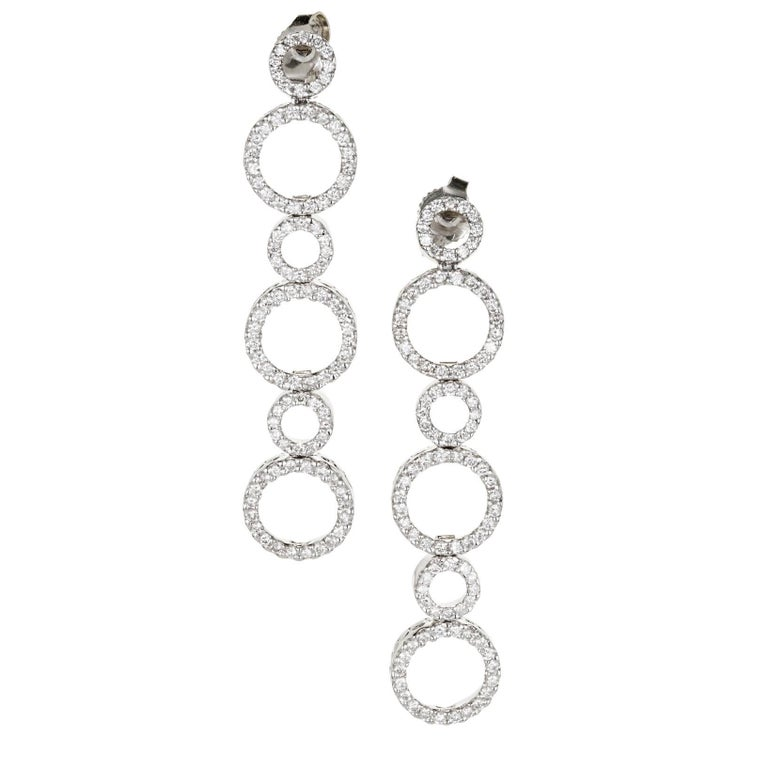 1.00 Carat Diamond Gold Circle Dangle Earrings