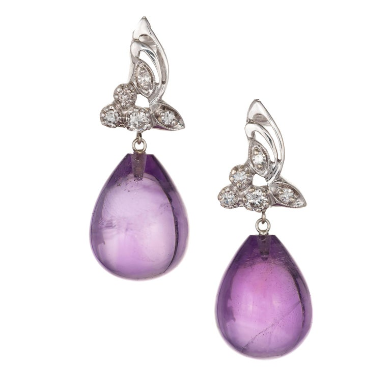 22.50 Carat Tear Drop Amethyst Diamond Gold Dangle Earrings