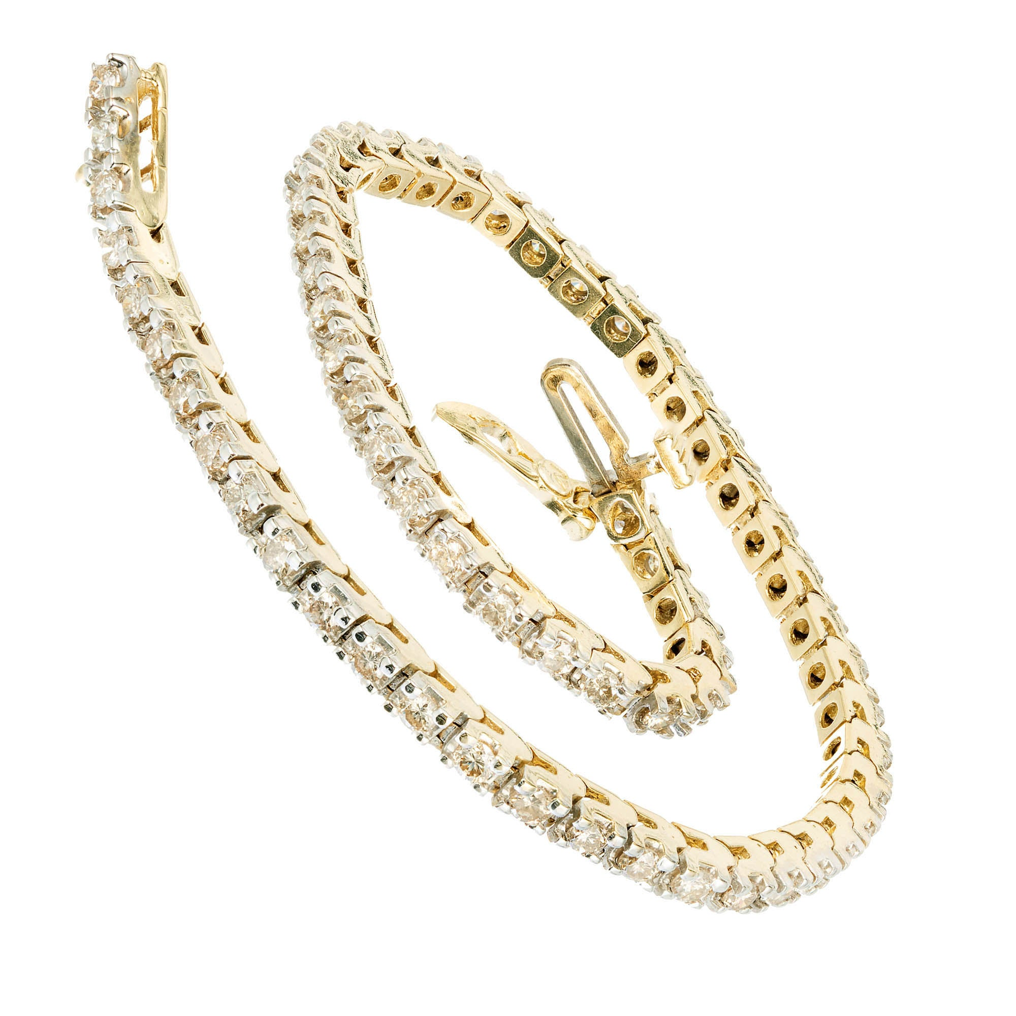 1.60 Carat Diamond Yellow Gold Tennis Bracelet