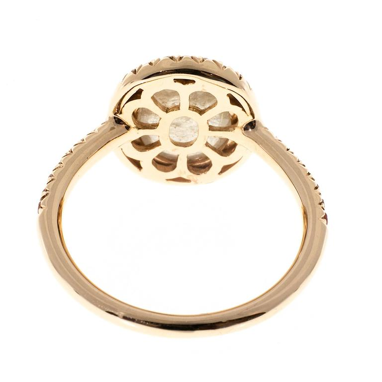 2.41 Carat Cabochon Sapphire Orange Sapphire Diamond Rose Gold Engagement Ring For Sale 1