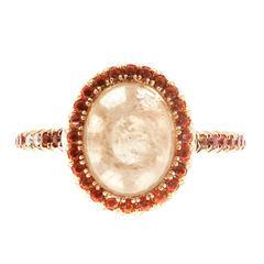 2.41 Carat Cabochon Sapphire Orange Sapphire Diamond Rose Gold Engagement Ring