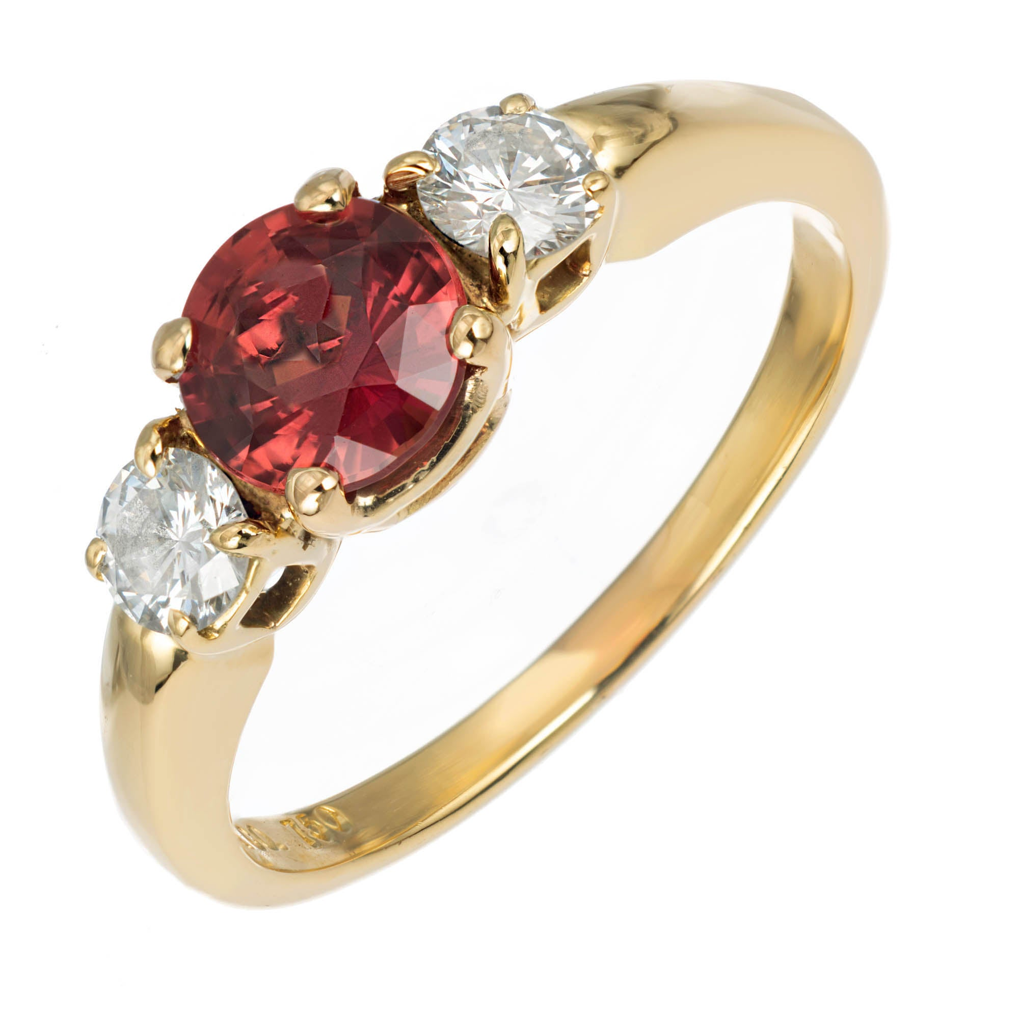 Tiffany & Co. Sapphire Diamond Gold Three-Stone Engagment Ring