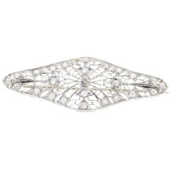 .48 Carat Diamond Platinum Filigree Edwardian Brooch
