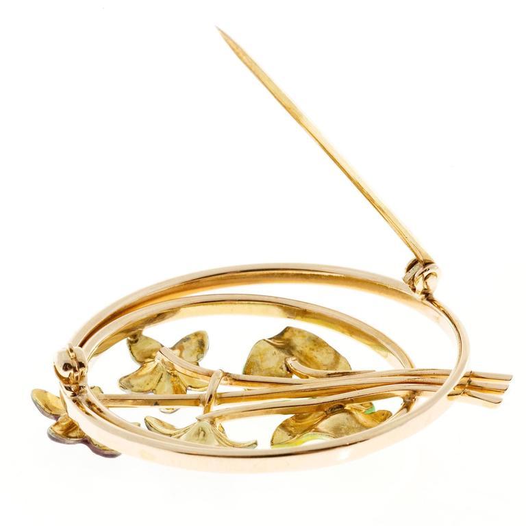 Women's Krementz Pearl Enamel Rose Gold Flower Pin For Sale