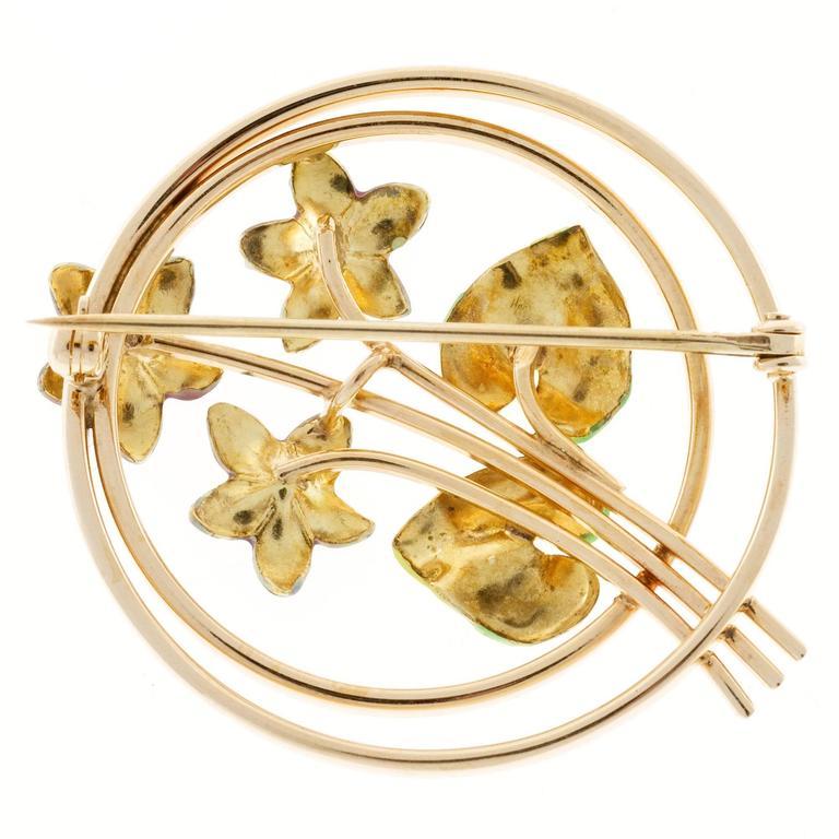 Krementz Pearl Enamel Rose Gold Flower Pin For Sale 1