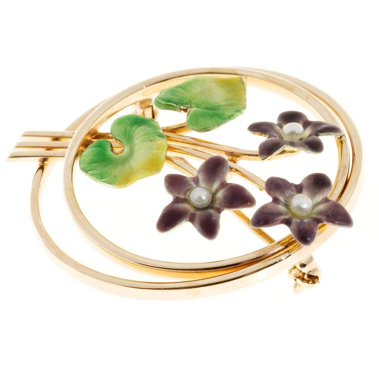 1930 Krementz beautiful enamel 14k pink gold pearl pin.   14k Rose Gold Green to yellow and purple enamel Stamped: 14k (Krementz hallmark) 9.6 grams 3 2.5mm natural pearls Top to bottom: 36.6mm or 1.44 inches Width: 1.33 inch or 33.8mm