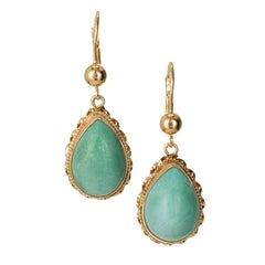 6.50 Carat Natural Pear Turquoise Yellow Gold Dangle Earrings