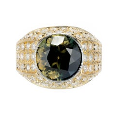 Peter Suchy GIA Certified 8.25 Carat Sapphire Diamond Gold Cocktail Ring