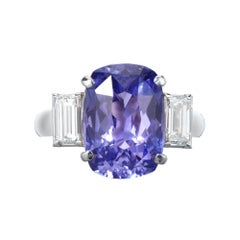 Peter Suchy GIA Certified 5.44 Carat Violet Sapphire Diamond Engagement Ring