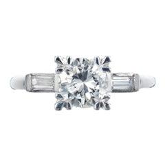 EGL Certified 1.03 Carat Diamond Platinum Fishtail Engagement Ring