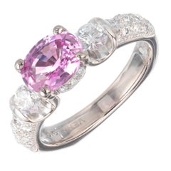 Verragio GIA Certified 1.60 Carat Pink Sapphire Diamond Gold Engagement Ring