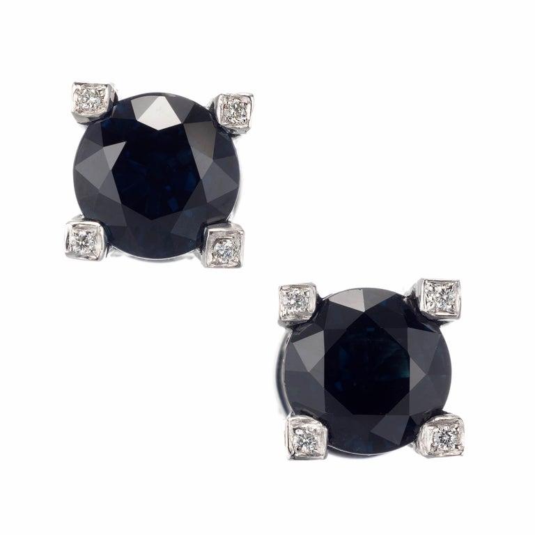Peter Suchy GIA Certified 5.02 Carat Sapphire Diamond Stud Earrings