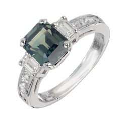 Peter Suchy 2.46 Carat Blue Green Sapphire Diamond Platinum Engagement Ring