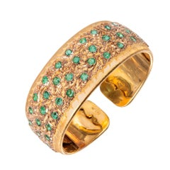 Buccellati 4.16 Carat Emerald Yellow Rose Gold Cuff Bracelet