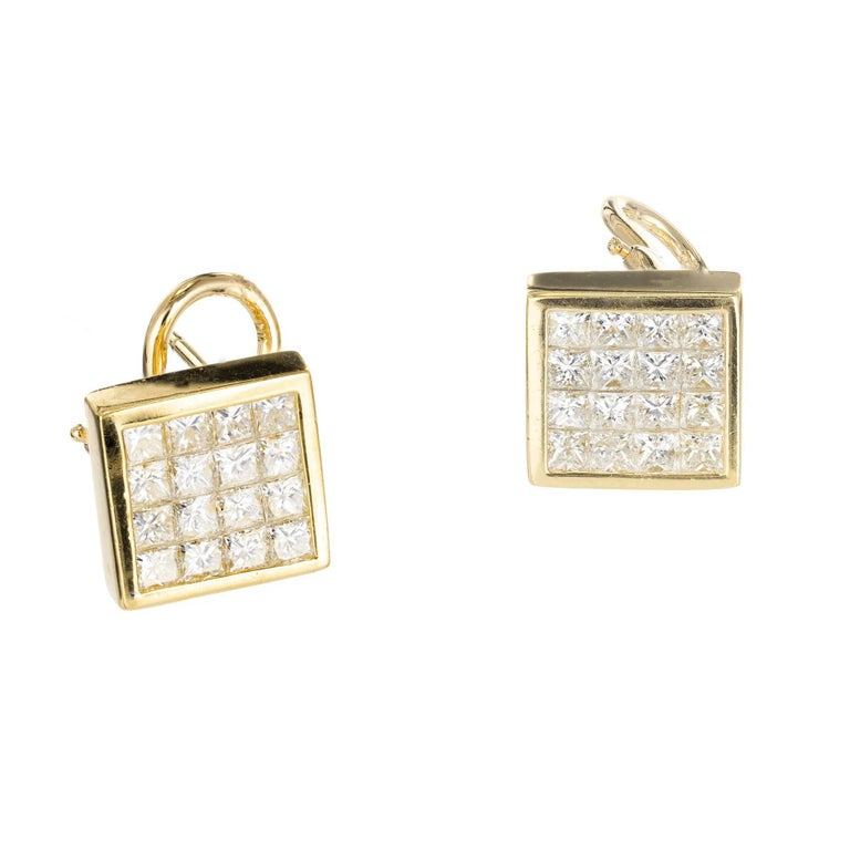 Clic Flat Invisible Set Princess Cut Clip Post Diamond Stud Earrings With Bright White Sparkle