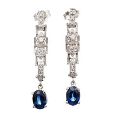 GIA Certified 2.00 Carat Oval Sapphire Diamond Gold Dangle Drop Earrings