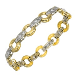 1.54 Carat Diamond Two-Tone Gold Circle Bar Link Bracelet