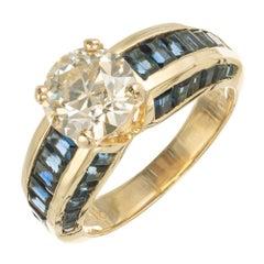 GIA Certified 1.94 Carat Light Yellow Diamond Sapphire Gold Engagement Ring