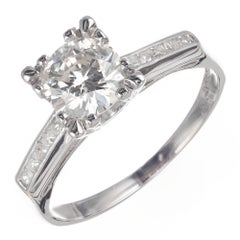 EGL Certified .89 Carat Diamond Platinum Engagement Ring