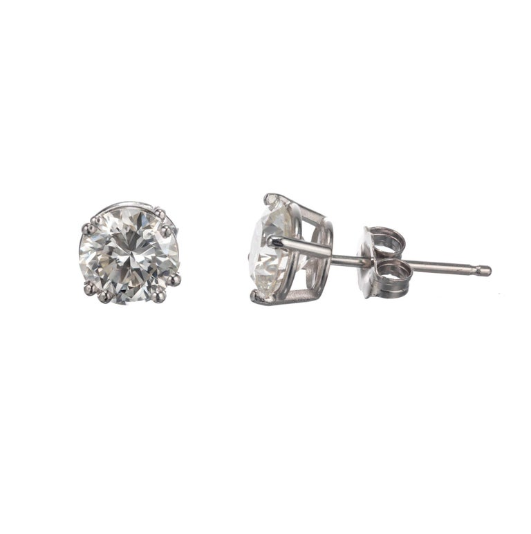 Peter Suchy GIA Certified 1.84 Carat Diamond Platinum Stud Earrings In New Condition For Sale In Stamford, CT