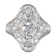 EGL Certified .86 Carat Diamond Three-Stone Edwardian Platinum Dome Ring