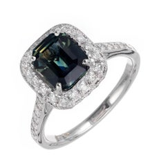 Peter Suchy 2.55 Carat Green Blue Sapphire Diamond Platinum Engagement Ring