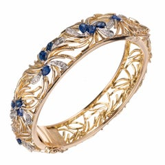 Sapphire Diamond Open Work Bangle Bangle Bracelet