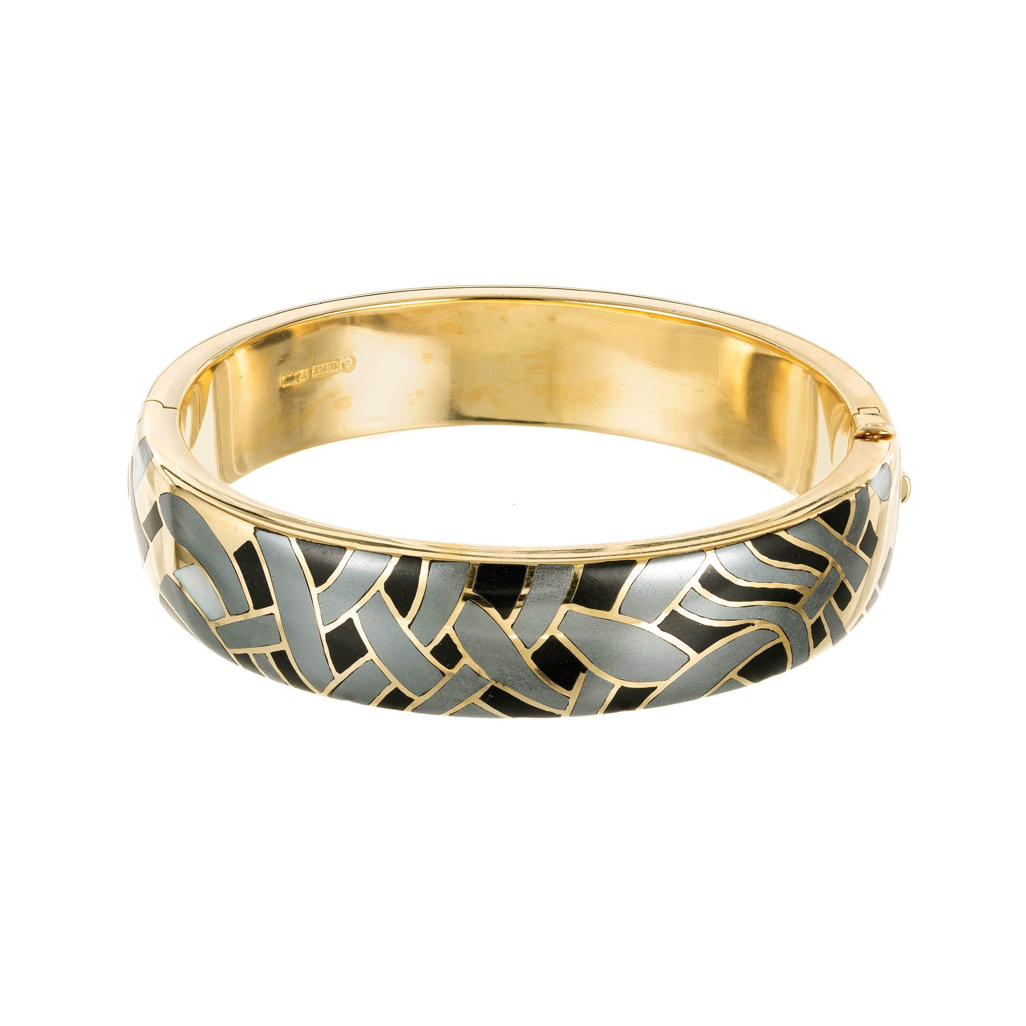 702ca10bd Tiffany and Co. Mother of Pearl Hematite Black Jade Yellow Gold Bangle  Bracelet at 1stdibs