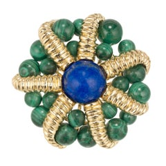Tiffany & Co. Lapis Lazuli Malachite Yellow Gold Brooch