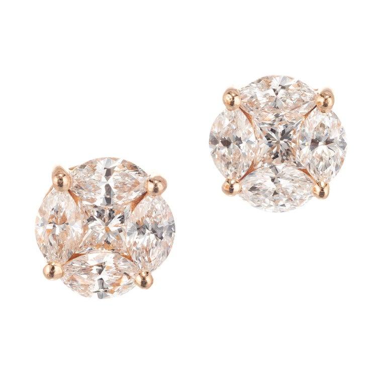 1.54 Carat Diamond Rose Gold Cluster Earrings For Sale