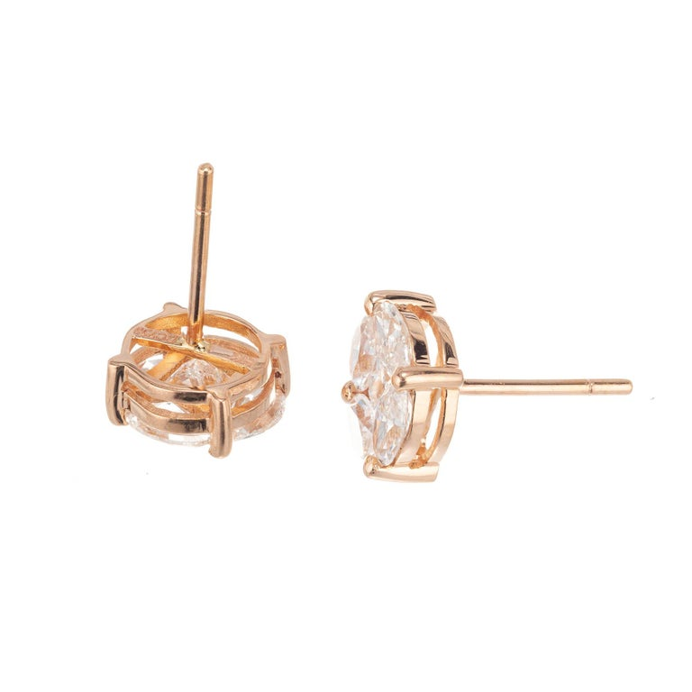 Marquise Cut 1.54 Carat Diamond Rose Gold Cluster Earrings For Sale