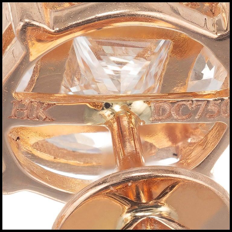 Women's 1.54 Carat Diamond Rose Gold Cluster Earrings For Sale