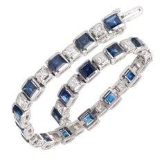7.25 Carat Sapphire Diamond White Gold Link Bracelet