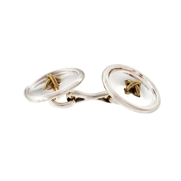 Tiffany & Co. Sterling Silver Yellow Gold Button Cufflinks In Good Condition For Sale In Stamford, CT