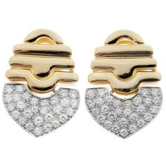 1.00 Carat Pave Diamonds Gold Dangle Earrings, circa 1970s