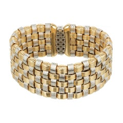 Italian Diamond Wide Two-Color Gold Mesh Bracelet