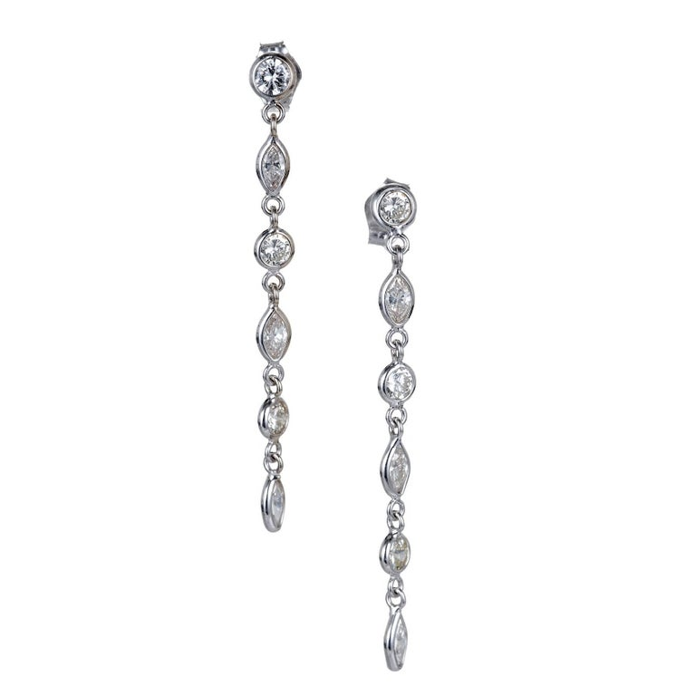 Peter Suchy 1.06 Carat Marquise Round Diamond Gold Dangle Drop Earrings
