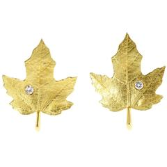 Tiffany & Co. Diamond Gold Textured Maple Leaf Earrings