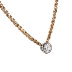 1.00 Carat Diamond 14 Karat Yellow Gold Platinum EGL Certified Pendant Necklace