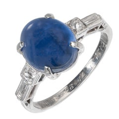 4.55 Carat Burma Star Sapphire Diamond Platinum Engagement Ring