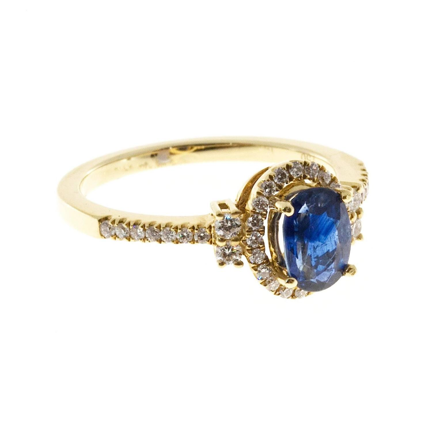 Bright Oval Sapphire Diamond Halo Gold Engagement Ring at 1stdibs