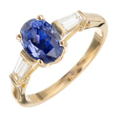 Bvlgari GIA Certified 2.24 Carat Sapphire Diamond Gold Engagement Ring