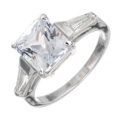 Peter Suchy GIA Certified 3.47 Carat Sapphire Diamond Platinum Engagement Ring