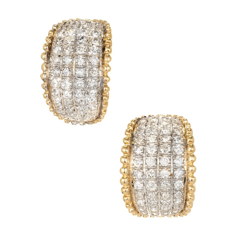 2.25 Carat Diamond Curved Gold Domed Earrings