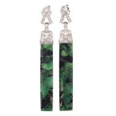GIA Certified 42.00 Carat Emerald Diamond Platinum Dangle Earrings