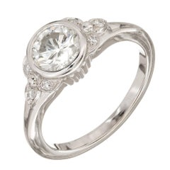 Egl Certified 1.00 Carat Old European Art Deco Diamond Platinum Engagement Ring