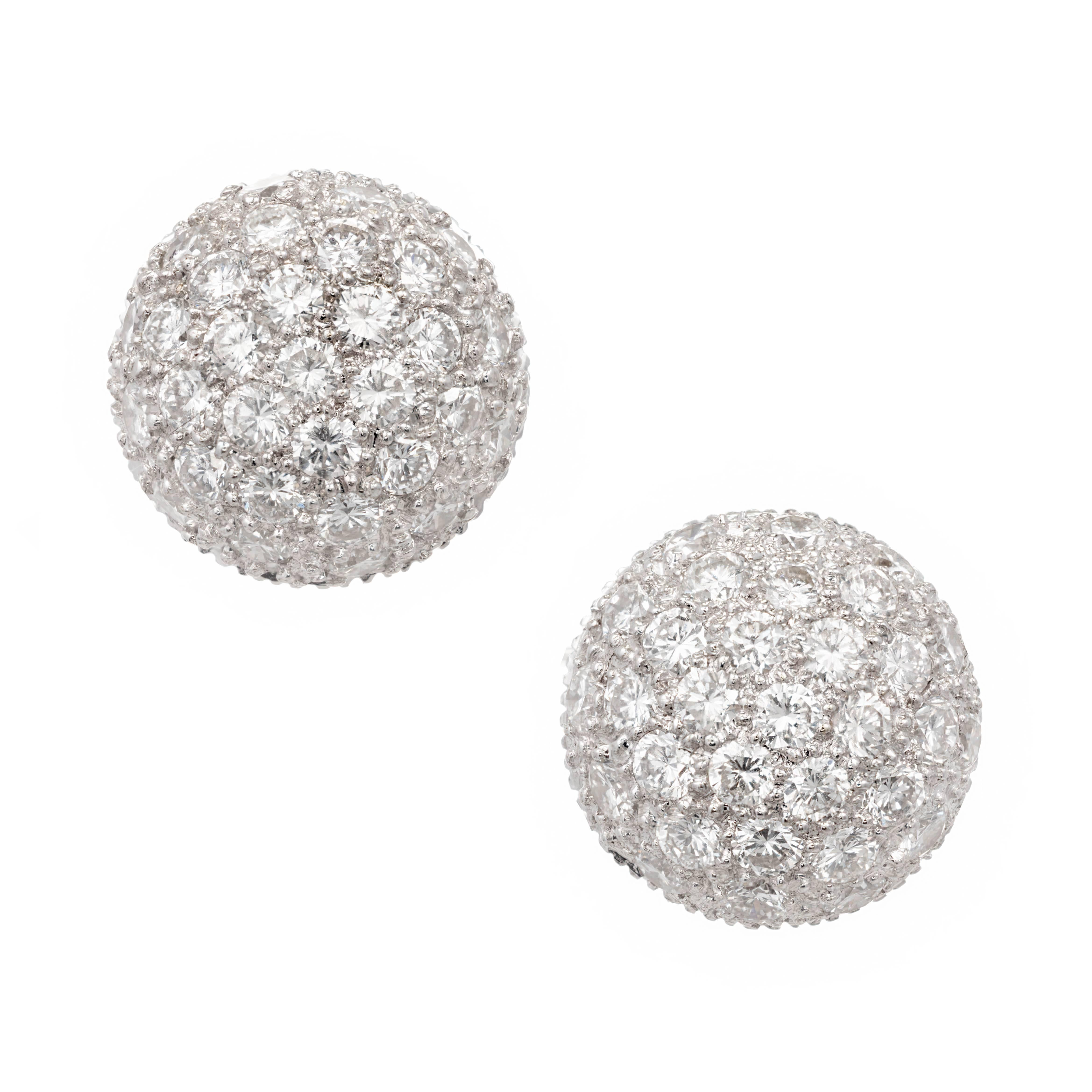 1.50 Carat Diamond High Dome Cluster White Gold Earrings